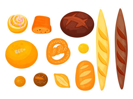 Set of isolated pastry or bakery. Donut or doughnut, croissant and pretzel, anadama or brick, butterbrot bread, baguette or baton. Rural and cereal, agriculture and grocery, food and nutrition theme