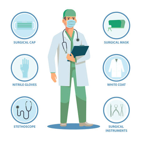 Surgical doctor with isolated items or equipment. Surgeon man and cap, mask, nitrile gloves and white coat, stethoscope and instruments, notes. Male in professional uniform. Healthcare, medical theme Çizim