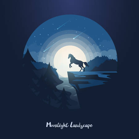 Dusk or night forest landscape with wild horse on rock or cliff above forest with river. Wildlife equine at midnight standing on mountain in front of moon and nightfall. Scenery and twilight panorama