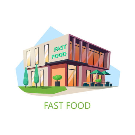 Fast or junk food shop. American cafe with unhealthy nutrition. Store building with hamburger and drinks, pizza. Exterior isometric view on structure facade, luncheonette. Nutrition and storefront