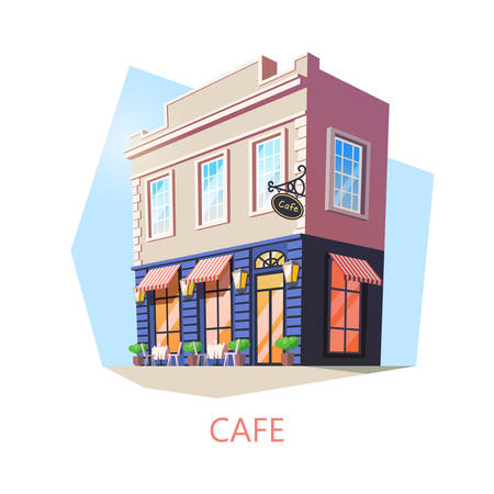 Exterior view on isometric cafe building. Outdoor view on cafeteria or food and drink shop or store. Teahouse facade or cartoon construction design. Street or urban restaurant. Architecture, nutrition