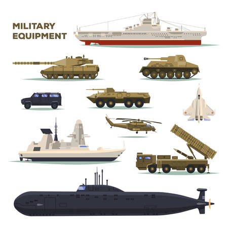 Set di icone militari o dell'esercito isolate. Sottomarini nucleari e carri armati, elicotteri e bombardieri o aerei, aerei e navi da trasporto, veicoli e incrociatori. Trasporto di guerra e forza, tema della marina Vettoriali