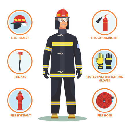 Firefighter with equipment like helmet and gloves, fire hose and hydrant, axe and extinguisher. Fireman with item infographic. Cartoon man in mask and waistcoat. Profession and alarm, emergency theme
