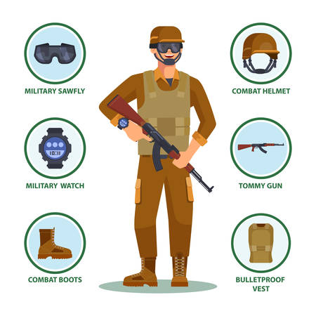 Army or military cartoon soldier with items in infographic. Man with helmet and sawfly eyewear, watch and gun, boots and bulletproof vest. American or US infantry man ammunition. Infantry, equipment