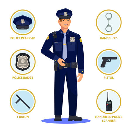 Policeman in uniform with equipment infographic. Police officer with peak cap, handcuffs and badge, sign and T-baton, gun or pistol, portable handheld scanner or radio. American cop, profession, work