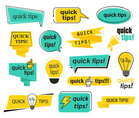 Set of isolated tips icons with hand and bulb, lamp and megaphone, phrases. Quick advice for website, exclamation incentive, info and trick, idea, suggestion service, help badge with text. Information Illustration