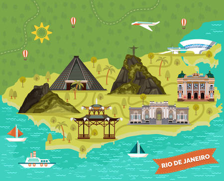 Rio de Janeiro map with sightseeing landmarks. Vista Chinesa, City Theater