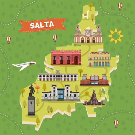 Map with landmarks of Salta town in Argentina. Cabildo historia, cathedral, monument to General Martin Miguel Guemes,  contemporary art and Guemes, Anthropology. Sightseeing and tourism