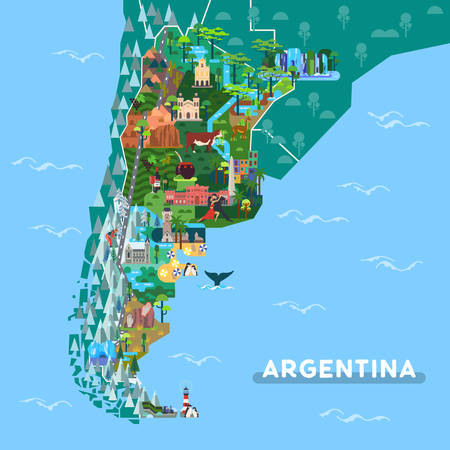Sightseeing places on Argentina map. Landmarks like Iguazu fall and Obelisk, Ushuaia and Cordoba cathedral, prehistoric rock art and ruins at San Ignacio. Tango dancers, wine. South America theme