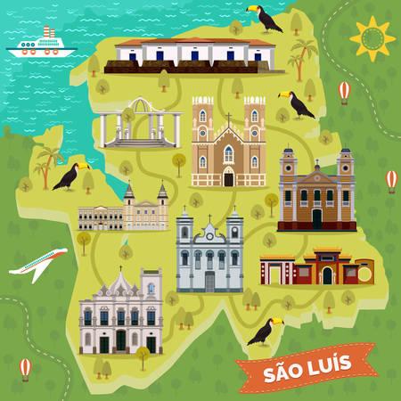Sao Luis retro map with landmark places. Igreja da Se or cathedral of our Lady of Victory, Batista, Jose Sao Pantaleao, Largo dos Amores, Saint Antonio church, Raia fortification,Wang park.Sightseeing Çizim