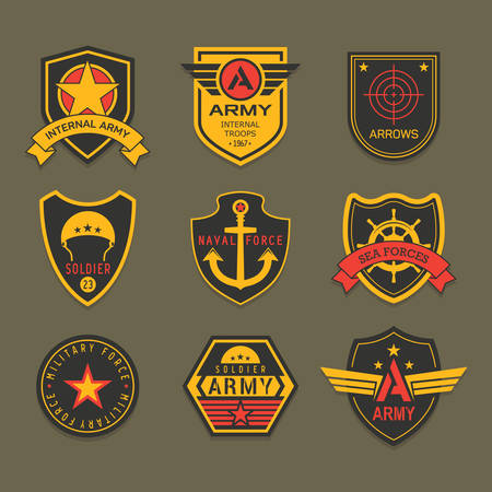 Set of isolated military badge or army insignia, american ranger patch, squad crest for airborne. Icons with star and helmet, anchor and ribbon, crosshair. Uniform clothing, navy, airborne, soldier