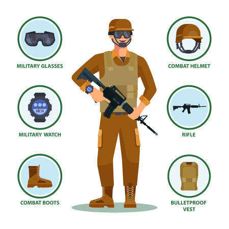Army or military cartoon soldier with items in infographic. Man with helmet and eyewear, watch and gun, boots and bulletproof vest. American or US infantry man ammunition. Infantry, equipment