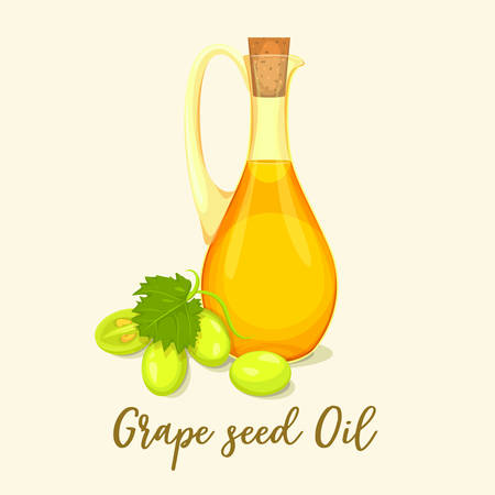 Grape oil in glassware bottle near fruit fetus berry and leaf. Wine or vinegar in jar, pharmacy liquid made of plant. Vegetarian nutrition and beauty care, organic extract and cooking, perfume theme Çizim