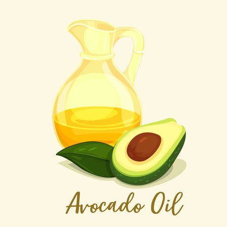 Avocado oil for body or hair care, cooking ingredient. Closeup with fruit liquid in bottle and sliced berry. Plant extract for massage or perfume essence, healthy vegetarian product. Drink theme Çizim
