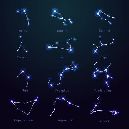 Set of isolated zodiac signs with stars. Icon or symbol of aries and taurus, gemini and cancer, leo, virgo, libra, scorpius, sagittarius, capricornus, aquarius, pisces. Horoscope astrology astronomy Çizim