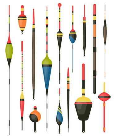 Set of isolated fisherman bobber or angler hook. Float for rod or water tackle, plastic fish bait. Sport or recreation fishing equipment or items. Catch and lake, pond or river, outdoor hobby theme