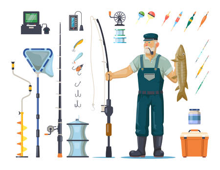 Fisherman in wader with catch or fish. Sport fishing equipment like rod or pole, hook and bobber, depth finder and bucket, winter lake drill, net and bait, tackle and cork. Angler and fishery theme