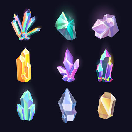 Set of isolated crystals or diamonds. Colorful icons of jewel or rock, shiny amethyst or glowing gem, gemstone logo or decoration mineral, polygon stone or quartz. Geometry and geology theme