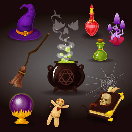 Set of isolated witchcraft or wizard, helloween items. Cauldron with boiled liquid and ghost, potion and mushroom, spider web, book with skull, voodoo doll, crystal ball, orbuculum, witch broom, hat Vector Illustratie