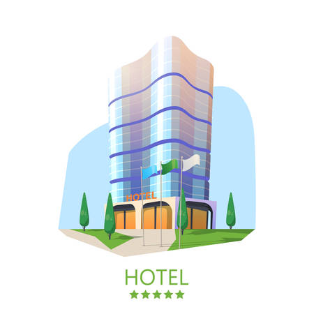 Hotel building or skyscraper motel, business apartment at city. Exterior or outdoor view on tower with flags, cityscape panorama with hostel facade.Tourist room for vacation. Architecture and panorama Illustration
