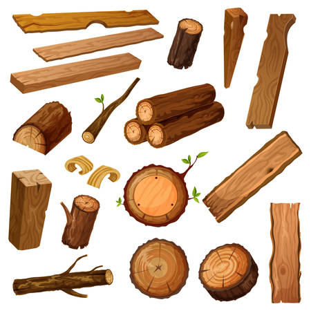 Set of isolated wood bark and tree log, brown timber trunk with wooden chips or flinders, stump or stub, textured stock of hardwood material. Firewood and crust, oak lumber and woodpile. Nature theme Foto de archivo - 124506854