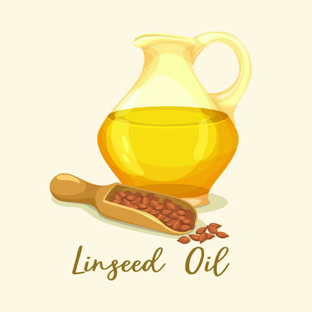 Jar with linseed oil near grains. Bottle with liquid for paint or cooking. Bottle with flaxseed or flax oil with omega-3. Agriculture essence for vegetarian nutrition. Flask with food ingredient.