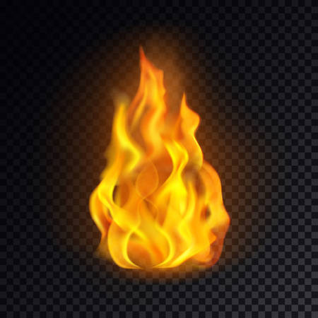 Flame icon or realistic fire emoji, lit emoticon or red bonfire logo, burn or blaze, yellow heat or campfire icon, cartoon spark or ignition. Concept of danger and burning, explosion and fireplace