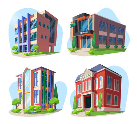 Set of isolated isometric modern buildings. University and college, public school and kindergarten. City architecture landscape or landmark. Exterior view on building facade. Study and learn theme