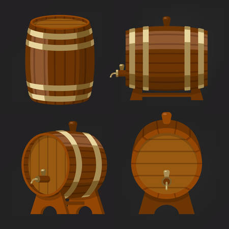 Set of old wooden wine barrel or beer oak keg. Container with alcohol drink or booze. Storage for whiskey liquid or cognac, ale beverage or scotch, rum. Vintage and old, brewery and bar, pub theme Illustration