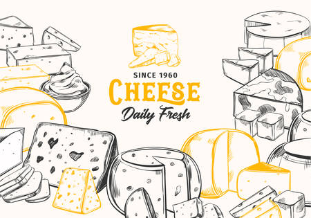 Sketch cheese for dairy banner. Vegetarian food sign for shop or store. Mozzarella and cream, fresh parmesan and porous switzerland organic cheese. Sliced chunks of product.Gourmet and nutrition theme Ilustracja