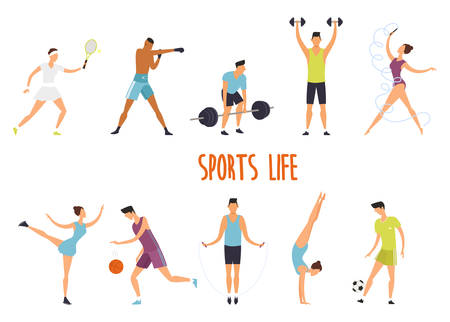 Set of isolated woman and man at sport exercise or fitness. Tennis and boxing, weight and barbell lifting, girl gymnastic and basketball, boy with jump rope and soccer ball. Healthy lifestyle, body