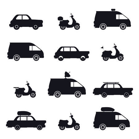 Set of isolated silhouette of car and minibus, motorcycle or scooter, tv or television bus and automobile, tourist minivan or camper. Motor vehicle and pickup. Transportation collection and auto theme
