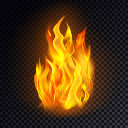 Realistic fire isolated on transparent background. Flame icon or burn emoji, heat or hot emoticon, bonfire or campfire graphic, red lit or flammable logo. Flaming and fireball, danger and hell clipart Illustration