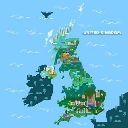 Inglaterra o inglés, Escocia, Irlanda mapa con monumentos famosos. Gran Bretaña o Reino Unido, Reino Unido