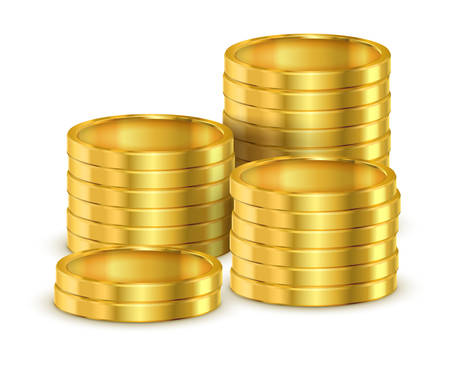 Pile of golden coins or heap of gold money for casino. 3d or realistic shining cash, tower or stack of treasure, Commerce and income, finance and bank, economy and earnings, cash and payment