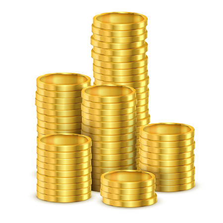 Realistic stack of golden money or stack of 3d coins made of gold. Tower of casino dollar cash or pile of banking investment. Finance and bank, financial and economy, pay and payment, income 版權商用圖片 - 123828283