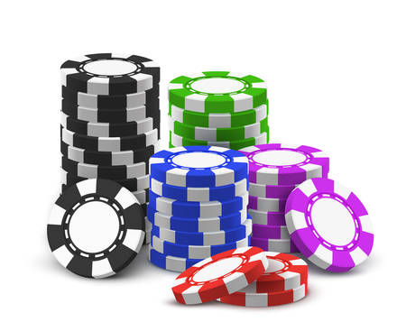 Heap of red and blue, black and violet, green realistic betting chips. Stack of casino money or pile, tower of gambling cash. Banner for online or internet gambling site. Bet and gamble, game theme