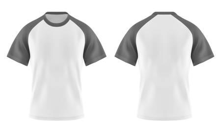 Set aus isolierten weißen T-Shirts mit grauem oder grauem Ärmel und U-Ausschnitt. Lässige leere Abnutzungsschablone für Mann und Frau. Klares oder leeres 3D-Kleid oder realistisches Tuch. Männliches und weibliches Textil. Modethema