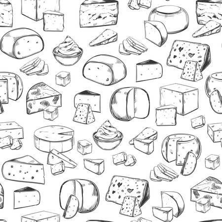Sketched sliced cheese seamless pattern. Background or backdrop with italian or french, switzerland dairy. Vegetarian mozzarella and parmesan food. Tile with vegan meal. Shop and store, market theme Ilustração