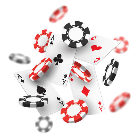 Banner for casino with flying chips. Realistic or 3d gambling red and black money for las vegas or monaco, macau entertainment room. Online or internet gamble site sign. Game and luck, bet theme