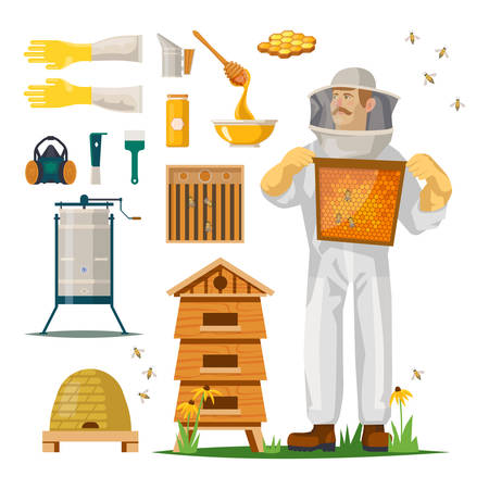 Hiver in suit or beekeeper with mask with honeycomb. Icons for apiculture. Smoker and gloves, frame and bee tool, respirator and feeder, queen excluder and spoon. Beehive and insect, agriculture farm
