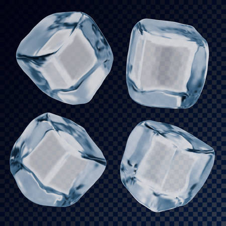 Falling ice cube or icy blocks for background. Iced solid liquid or white and blue object for cold drink. Freezed 3d, realistic square closeup. Transparent glass liquid. Frost and cold, bar, cocktail 矢量图像