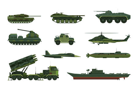Set of isolated military vehicle icons. Tank and aircraft, helicopter and submarine, boat or frigate, hammer and airplane, aircraft protection truck, ground machines. War and navy, air and artillery Ilustração