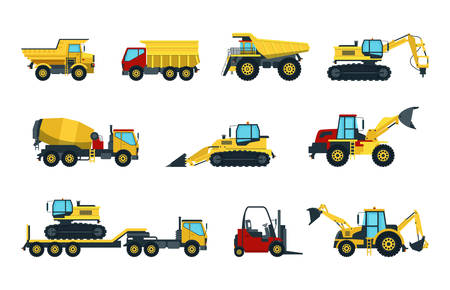 Set of isolated heavy machines or trucks for asphalt building and industrial work. Excavator and digger, dumper and forklift lift truck, roller and bulldozer, concrete mixer.Transport and construction