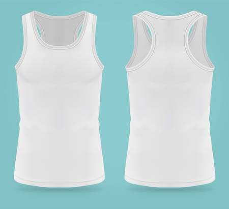 Isolated realistic white t-shirts for women sport. Mockup of woman t shirts for gym. Back and front on sleeveless casual female clothing. Girl and lady tank top uniform for tennis and yoga. Sportswear