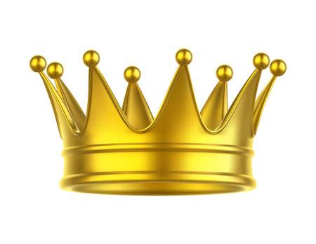 Ikone der Königin oder des Königs, der Prinzessin oder des Prinzen, des Monarchen oder des Herzogs, des Marquis oder des Papstes, der Kaiserkrone. Goldener Kopfschmuck für mittelalterliche Monarchen. Goldene Kopfbedeckung zur Krönung. Spiel- und Wappenzeichen Vektorgrafik