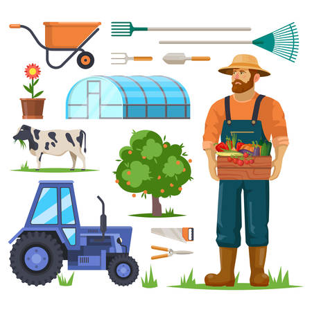 Set of isolated farm or agriculture equipment and farmer with harvest or vegetables. Items for garden and field. Rake, tractor, flower, tree, cow and saw, greenhouse, wheelbarrow, hothouse. Village