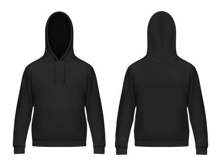 Isolated 3d or realistic man hoodie. Black men hoody with muff or kangaroo pocket, drawstrings. Sweatshirt or sweater with hood. Front and back of casual, sport clothing with long sleeve. Cloth mockup