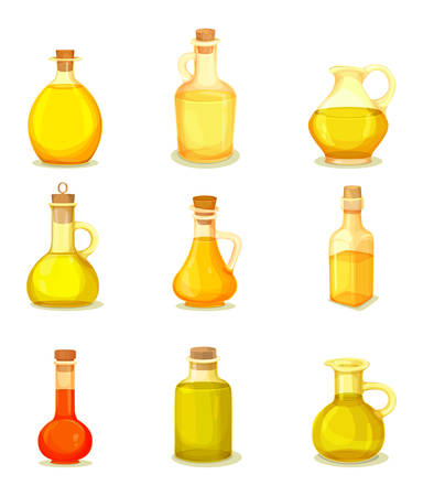Set of isolated jars with oil liquid inside. Bottle with linseed and almond, corn and sesame, cedar and red palm extract. Vegan or vegetarian organic nutrition component.Medicine and beauty, oily food