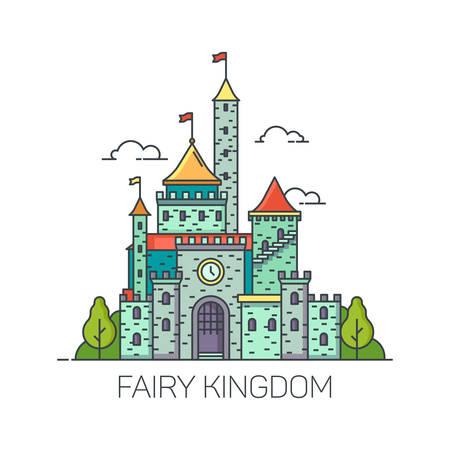 Cartoon fairy tale castle or flat cartoon kingdom fort, dreamlike princess fortress. Fantasy or fantastic building landscape. Dream colorful mansion or magic mansion. Children fairytale or kid story Illustration